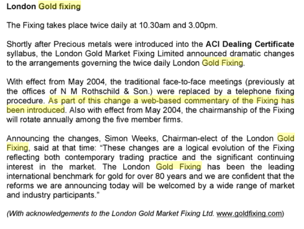 ACI Dealing - gold fixing - web-based commentary