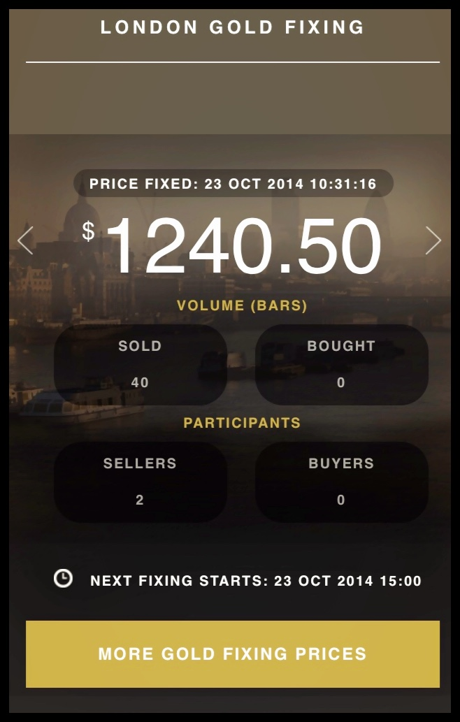 goldfixing snapshot daily price and timestamp