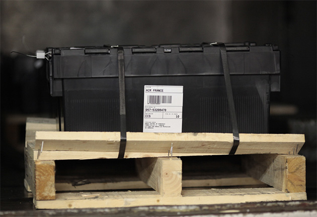 Air France labelled crate on pallet