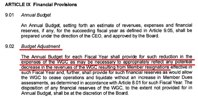 WGC Budget Adjustment