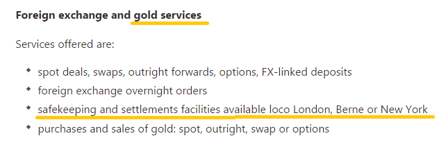BIS gold services to the global central bank market