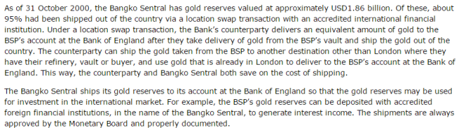 Bangko Sentral Philippines - 95% gold at Bank of England