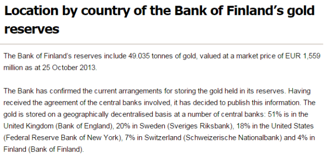 Bank of Finland - Distribution of gold reserves