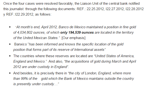 Banxico - location of gold reserves