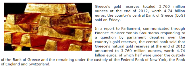 Bank of Greece, locations of Greece's gold reserves