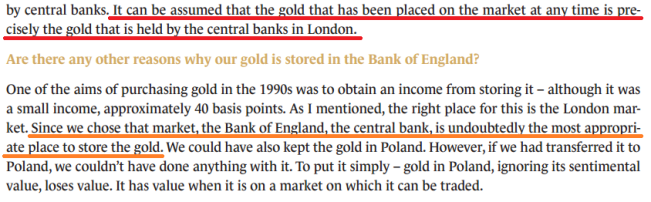 Narodowi Bank Polski - location of gold reserves