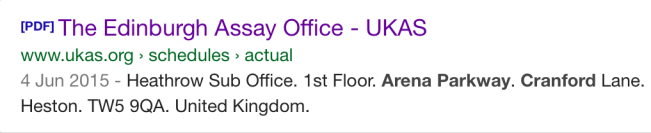 Edinburgh Assay Office Heathrow sub office 1st floor Arena Parkway