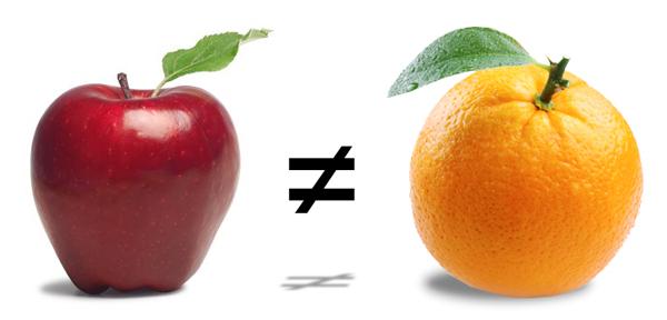 Apple not equal to orange