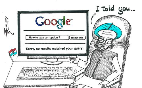 Unsuccessful Google search in India… - Cartoon by Thommy