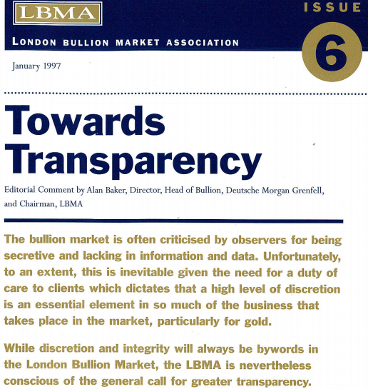 LBMA - Issue 6 of Alchemist - 'Towards Transparency'