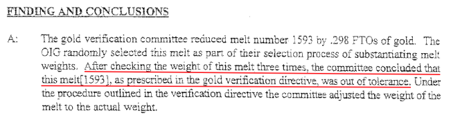 Gold verification report West Point 1999.