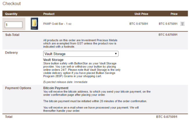 Checkout Screen with BTC as the default payment option
