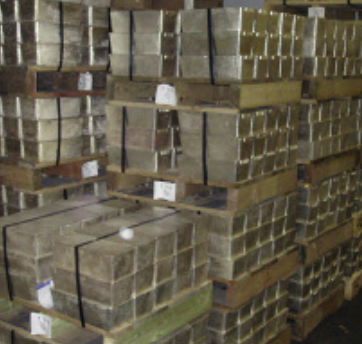 Silver bars stored on pallets