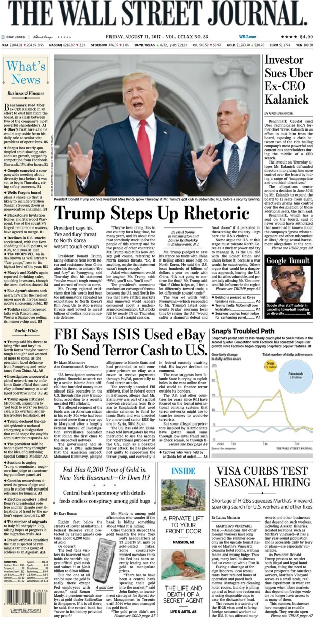 Front Page - Wall street Journal, August 10, 2017