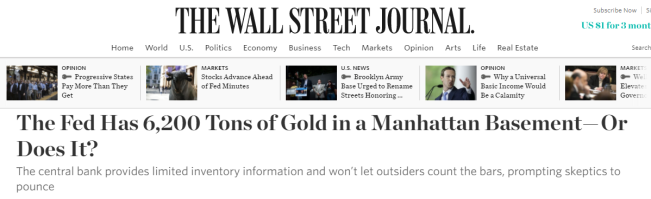 Wall Street Journal article about the NY Fed stored gold