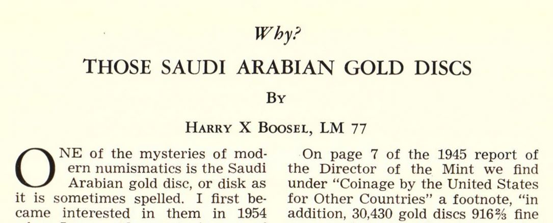 Why the US Mint once issued gold discs to Saudi Arabia - JP Koning