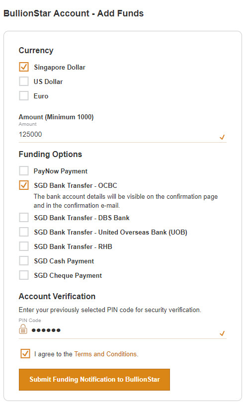 Adding funds to a BullionStar account is quick and easy.