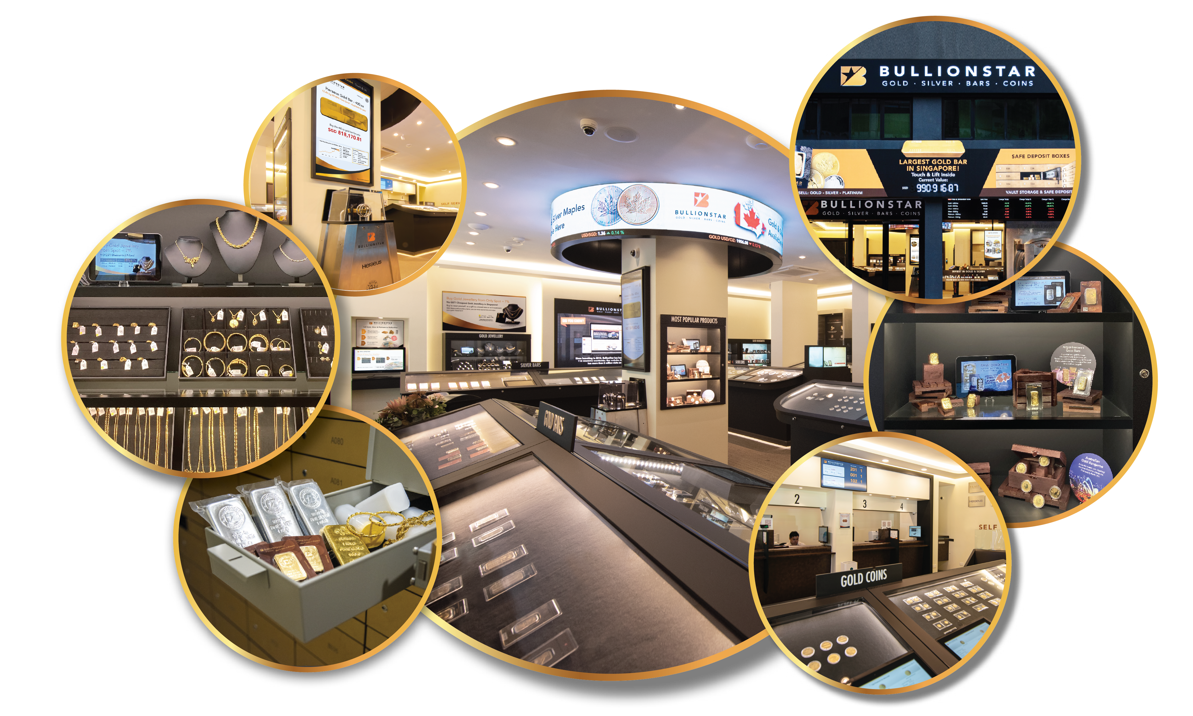 A picture collage of BullionStar's newly renovated Bullion Center in central Singapore