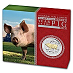 Australian Silver Lunar Series 2019 - Year of the Pig - Gilded Proof - With Box and COA - 1 oz thumbnail