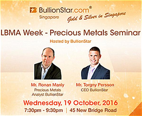 Registration BullionStar's Precious Metals Seminar 19 October