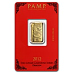 PAMP Lunar Series 2012 Gold Bar - Year of the Dragon - Circulated in good condition - 5 g thumbnail