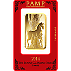 PAMP Lunar Series 2014 Gold Bar - Year of the Horse - 1 oz thumbnail