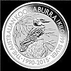 Australian Silver Kookaburra 2015 - 1 kg thumbnail