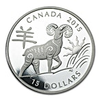 Canadian Silver $15 Lunar Year of the Sheep Proof - With box & COA - 2015 - 1 oz thumbnail