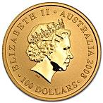 Australian Gold Kangaroo Nugget 2008 - 1 oz thumbnail