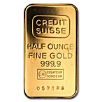 Credit Suisse Gold Bar - Circulated in good condition - 1/2 oz thumbnail