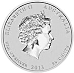 Australian Silver Lunar Series 2013 - Year of the Snake - 1/2 oz thumbnail