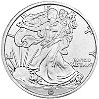 Walking Liberty 4-bit Silver Round - Circulated in good condition - 1/2 oz