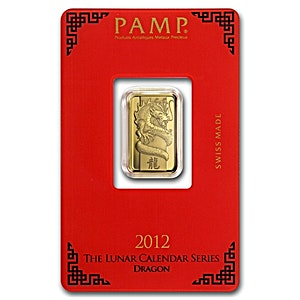 PAMP Lunar Series 2012 Gold Bar - Year of the Dragon - Circulated in good condition - 5 g