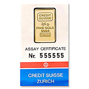 credit suisse gold bar circulated in good condition 2 5 g. Black Bedroom Furniture Sets. Home Design Ideas