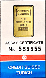 Credit Suisse Gold Bar - Circulated in good condition - 1 g