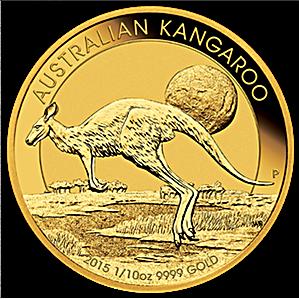 Australian Gold Kangaroo Nugget 2015 - 1/10 oz