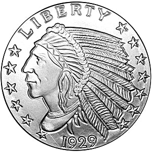 Incuse Indian Silver Round - 1 oz