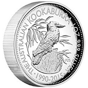 Australian Silver High Relief Kookaburra 25th Anniversary Proof 2015 - 1 oz