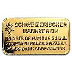 Swiss Bank Corporation Gold Bar - Circulated in good condition - 10 g