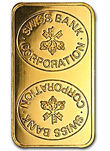 Swiss Bank Corporation Gold Bar - Circulated in good condition - 5 g