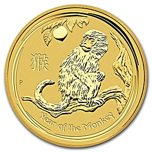 Australian Gold Lunar Series 2016 - Year of the Monkey - 1/20 oz