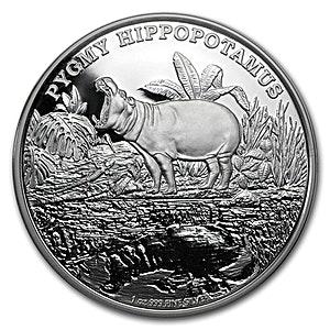 Niue Silver Endangered Species Pygmy Hippopotamus 2015 - 1 oz