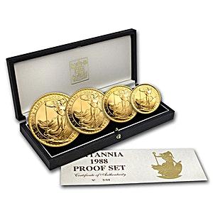 United Kingdom Gold Britannia 1988 4 coin set - Proof - 1.85 oz