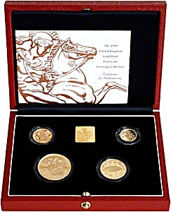 United Kingdom Gold Sovereign 1999 4 coin set - Proof - 2 oz