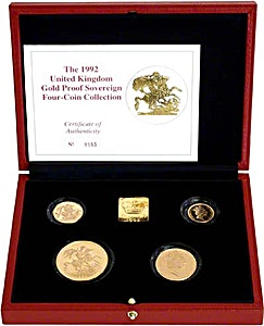 United Kingdom Gold Sovereign 1992 4 coin set - Proof - 2 oz