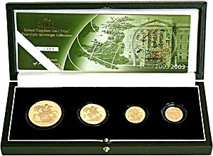 United Kingdom Gold Sovereign 2003 4 coin set - Proof - 2 oz