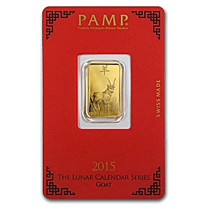 PAMP Lunar Series 2015 Gold Bar - Year of the Goat - 5 g