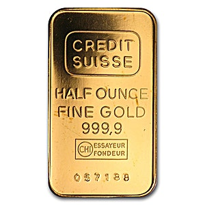 Credit Suisse Gold Bar - Circulated in good condition - 1/2 oz