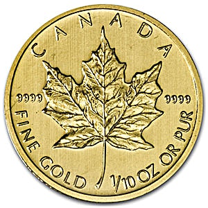 Canadian Gold Maple Various Years - 1/10 oz