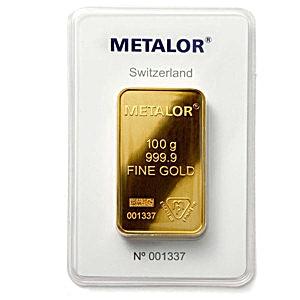 Metalor Gold Bar 100 G